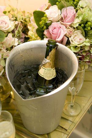Champagne koelen in de ijs kast met rozen boeketten  Stockfoto - 3075393