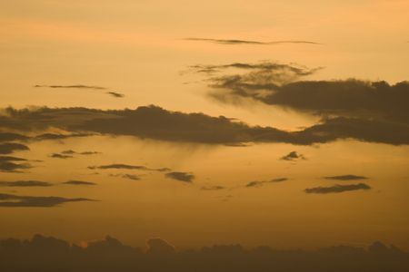 troposphere: cloudscape at sunset with virga