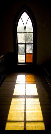 light shining through church window onto floor, concept