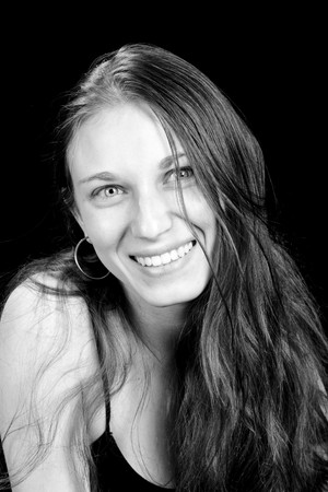 vivacious: beautiful young woman, black and white