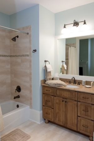 bathroom tile: modern bathroom with wood cabinets and stone tile shower Stock Photo