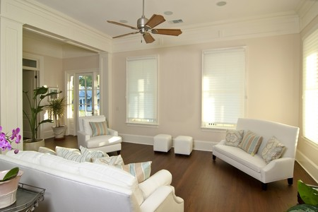fan ceiling: elegant modern living room with white furniture