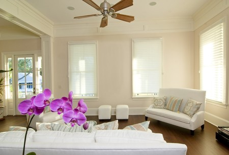 orchid house: beautiful modern livingroom with white furniture and orchid