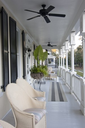 beautiful open porch looking over trees Stock Photo