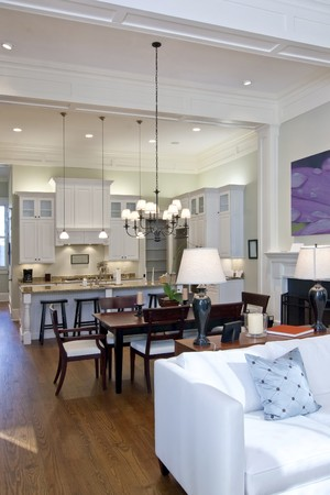 open studio apartment with kitchen, livingroom, and diningroom Archivio Fotografico
