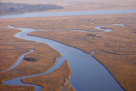 aerial view of marine estuary in south carolina usa