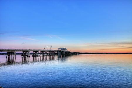 carolina del sur: dibujar la imagen hdr puente y puerto