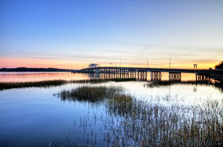 draw bridge in beaufort sc, hdr image Stock Photo