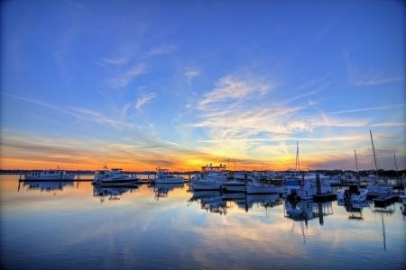 south carolina: marina in beaufort south carolina, hdr image