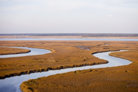 salt marsh: low aerial view of marine estuary and river delta Stock Photo