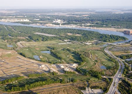 aerial view of new neighborhood and golf course photo