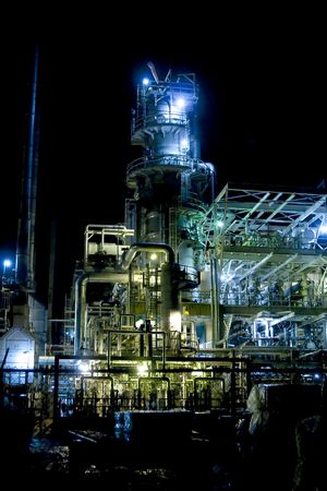 oil refinery at night with mixed color lighting Stock Photo - 6341905