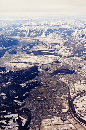 aerial view of chur valley in switzerland in winter Stock Photo - 9071288