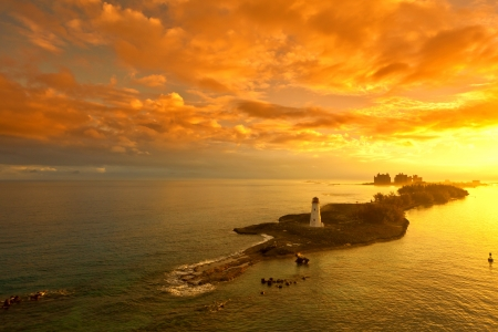 nassau bahamas and lighthouse at dawn photo