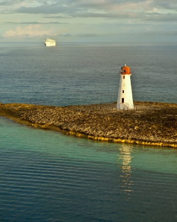 orange nassau: cruise ship coming into port, Nassau, Bahamas Stock Photo