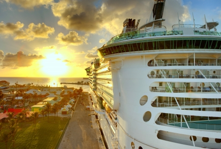 caribbean cruise: luxury liner in port in the bahamas, hdr image Stock Photo