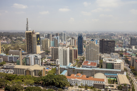 kenya: NAIROBI, KENYA-SEPTEMBER 14, 2014: An aerial view of downtown Nairobi, Kenya