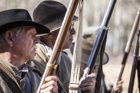 rifleman: SHELDON, SOUTH CAROLINA-JANUARY 25, 2015: Soldiers line up along a skirmish line in a reenactment of the battle of Pocotaligo, South Carolina