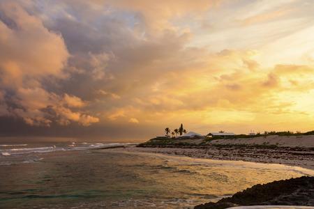 orange nassau: Stunning sunset on the shore of the Bahamas