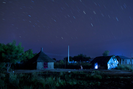 south sudan: Bor, South Sudan at night with star trails