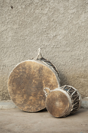 african drums: A pair of traditional African drums in South Sudan Editorial