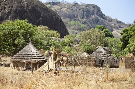 african village: remote village in mountainous region of south sudan