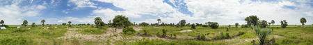 african village: 360 degree seamless panorama of South Sudan and the Nile River