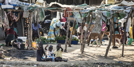 war refugee: BOR, SOUTH SUDAN-NOVEMBER 2: Unidentified children and families live a tenuous life of poverty in Bor, South Sudan, November 2nd, 2013. Many families have been displaced in tribal fighting. Editorial