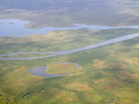 white nile: aerial view of wetlands and white nile river, south sudan