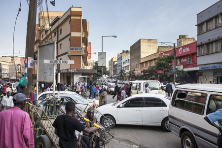 NAIROBI, KENYA-FEBRUARY 18: Unidentified people go about their business on busy streets in downtown Nairobi, Kenya on February 18, 2013, immediately before the national election.