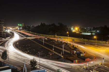 addis: Roundabout in Addis Ababa Ethiopia with light streaks from time exposure