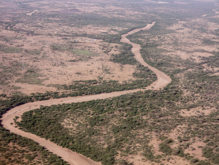 dire: Desert and dry river near Dire Dawa Ethiopia aerial view Stock Photo