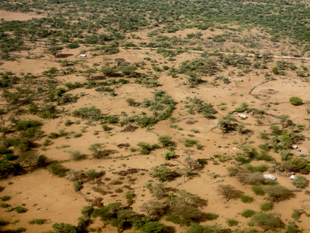 dry grazing land in the sahel of Ethiopia photo