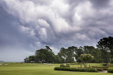 course: Dangerous storm moving over golf course