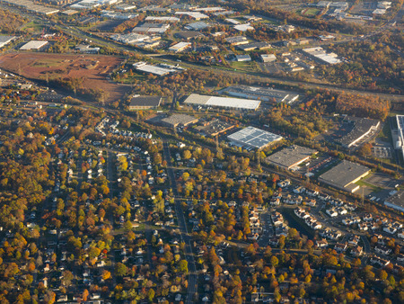 fall trees: aerial view of Newark, New Jersey during autumn season