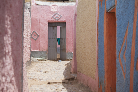 ethiopia: colorful walls in the city of Harar, Ethiopia. Harar is Islams fourth holiest city.