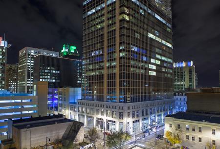city lights: Close rooftop view of modern city at night, Raleigh North Carolina Stock Photo