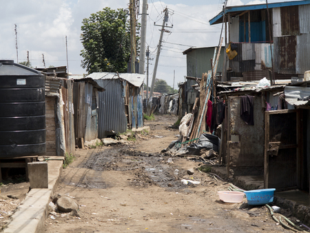 neighborhood of tin shacks in Kibera, Africas largest urban slum