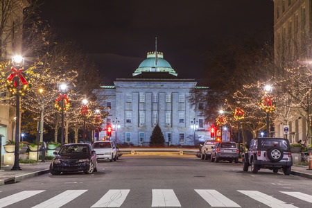 capital building: street level scene at night of Raleigh, North Carolina and capital building Stock Photo