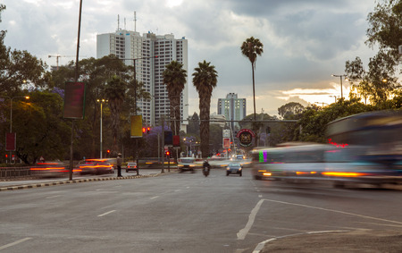 busses: traffic motion in the city center of Nairobi, Kenya