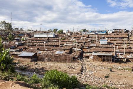 poorness: Kibera slum, the largest urban slum in Africa