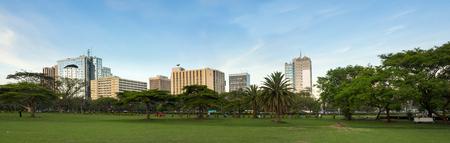 the national flag of kenya: Amplio panorama del centro de la ciudad de Nairobi,