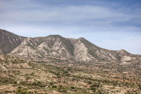 subsistence: Landscape of the mountains and villages of Eastern Ethiopia near Somalia Stock Photo