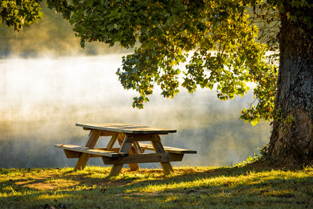 Picnic table in morning ight with mist
