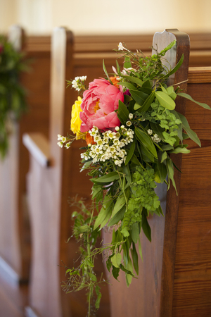 floral decorations at wedding site