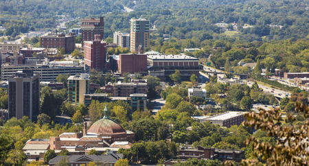 asheville: aerial panorama of downtown Asheville, North Carolin