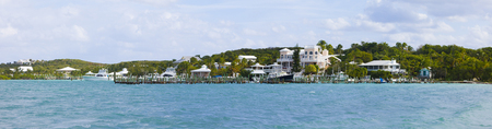 180 degree panorama of Elbow Cay in the Bahamas Stock Photo