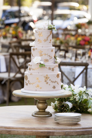 cake tier: Four tier wedding cake with white roses