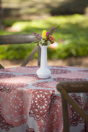simple table setup for outdoor picnic with vase