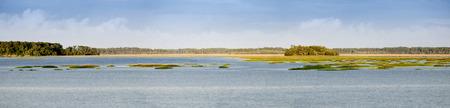 180 degree panorama of coastal estuary and forest in South Carolina